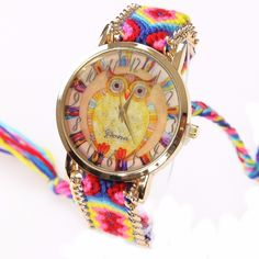 3.18$  Watch now - Gnova Platinum Rainbow Watch Women ethnic fashion owl wristwatch hippie Lace Chain Braided Reloj Girl Vintage Geneva Style A011   #aliexpressideas
