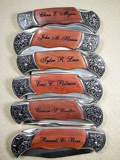 Perfect groomsmen gift from Ian - Set of 6 Personalized Engraved Rosewood Handle Pocket Hunting Knife Knives Groomsman Best Man Ring Bearer Gift. via Etsy. Gifts For Wedding Party, Wedding Wishes, Party Gifts, Wedding Favors, Wedding Events, Our Wedding, Dream Wedding, Wedding Stuff, Wedding Country