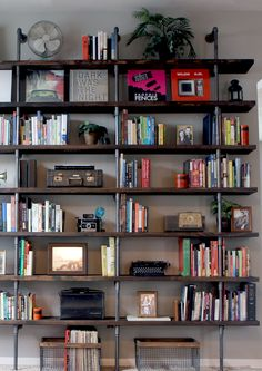 Industrial Shelves for Home Library