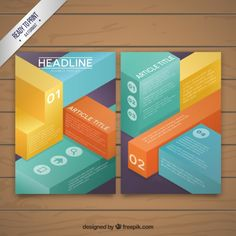 Business brochure with colored cubes Free Vector