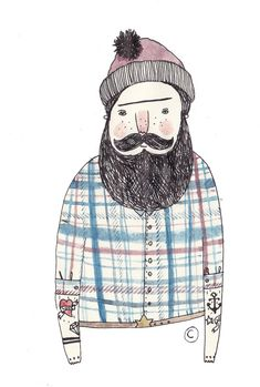 from tattoo men - Ella Masters Illustration Mignonne, People Illustration, Art Et Illustration, Pattern Illustration, Stürmische See, Beard Art, Doodle Art, Doodle Ideas, Tattoos For Guys