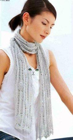 Gray Pineapple Motif Scarf free crochet graph pattern