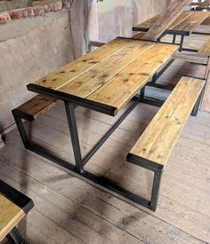 Industrial style pub bench table