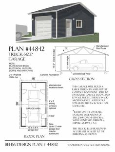 Reverse Gable 1 Car Garage Plan 448-12 by Behm Design..another hard to find garage plan, this design features truck-sized dimensions and is in reverse gable configuration.