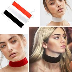 Plain choker necklaces available in black, white and red.