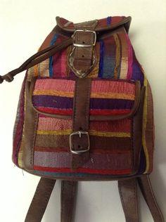 Cute Moroccan multicolor Striped Sabra Silk & Brown Leather Mini Backpack Bag 1 #Handmade #BackpackStyle