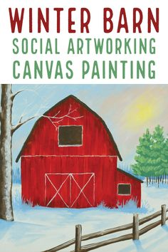 Red Barn Painting, Easy Canvas Painting, Winter Painting, Winter Art, Diy Painting, Painting & Drawing, Canvas Art, Canvas Painting Designs, Painted Canvas