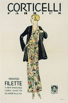 1920's Corticelli Fabric Fashion Vintage Poster PRINTED BY: Printed in USA AGE: c. 1920's lithograph CONDITION: A, Linen mounted, machine folded for distribution This uncommon smaller sewing related P