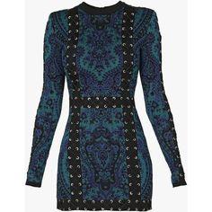 Lace-up knit mini dress | Women's knit dresses | Balmain (€3.170) ❤ liked on Polyvore featuring dresses, lace up dress, blue dress, mini dress, balmain and laced dress