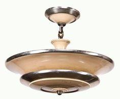 art deco style c. 1930's machine age two tone single light ceiling pendant