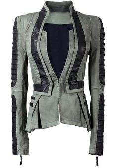 LookbookStore Women's Denim PU Leather Zip Sleeves Pleated Tuxedo           ($75.00) http://www.amazon.com/exec/obidos/ASIN/B00DNUGMKG/hpb2-20/ASIN/B00DNUGMKG Very well made. - The color on the screen shows a light grey and black but the actual color is deep army green and black. - The sleeves are a little long but I'm okay with that.