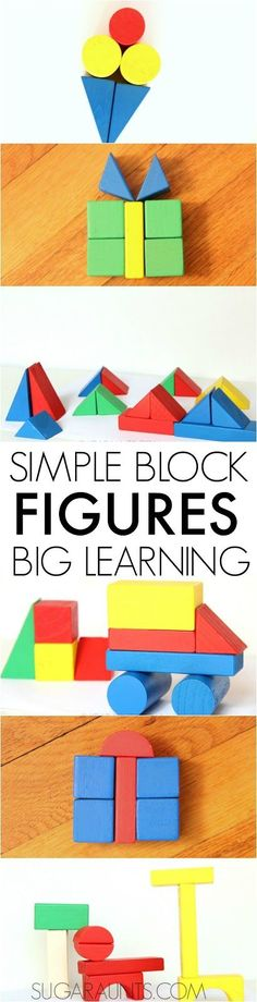 Use blocks for learning and play! Simple block shapes can teach so many math, pattern, colors, shapes...and the confidence, art, expression, and creativity in kids!