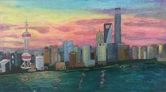 Skyline Shanghai Pu Dong 2016 – Acrylbild – Franky goes to Shanghai Skyline, Shanghai, Painting, Art, Paint Techniques, Skyscrapers, Base Coat, Canvas Frame, Art Background