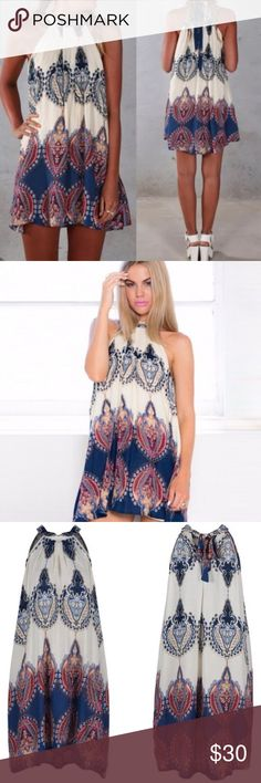 Coming Soon! Boho Halter Dress New without tags retail boho halter dress. Dresses Mini