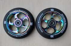 DIS Black Slicks Metal Core Scooter Wheels - 2 Wheels with Bearings and spacers installed Scooter Wheels, Pro Scooters, Fixed Gear Bike, Stunts, Core, Skateboards, High Speed, Bmx, Black