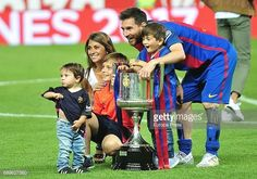 Leo Messi, Antonella Roccuzzo and their sons Mateo Messi and Thiago Messi attend the Copa del Rey Final match between FC Barcelona and Alaves FC at Vicente Calderon Stadium on May 28, 2017 in Madrid,...