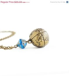 Mothers Day Sale, Necklace, Travelers Necklace, Brass Globe and Azure Glass Bead Charm Necklace, Spring Fashion
