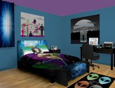 Alien Invasion Bedroom Theme featured at http://www.visionbedding.com/Alien-Invasion_Bedroom-rm-13343