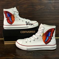 f2679c5198d9 Butterfly Converse All Star Shoes Custom Hand Painted Canvas Sneakers High  Tops White Converse Shoes