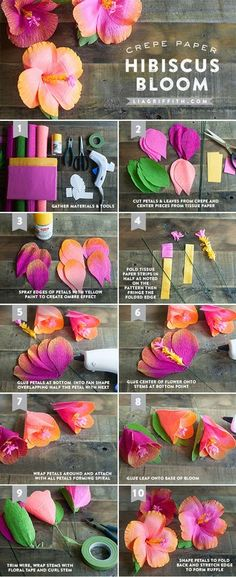 DIY Hibiscus Garland #DIY #PartyDecor #Decor #Decorate #Decorations #Parties #Garlands #Luau
