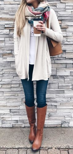 #winter #outfits white cardigan and blue denim jeans