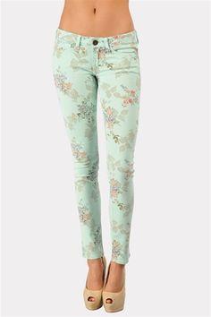 Dainty Flower Print Jean - Mint