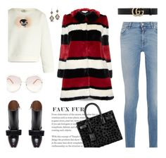 """Faux Fur Coats..."" by unamiradaatuarmario ❤ liked on Polyvore featuring Fendi, Dana Kellin, Alice + Olivia, Givenchy, Gucci, Marni, Yves Saint Laurent and Chloé"