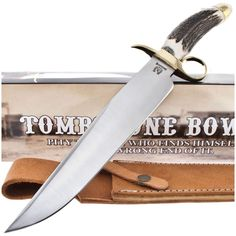 Rough Rider RR-1142 Tombstone Bowie Knife Genuine Stag Handle | MooseCreekGear.com | Outdoor Gear — Worldwide Delivery! | Pocket Knives - Fixed Blade Knives - Folding Knives - Survival Gear - Tactical Gear