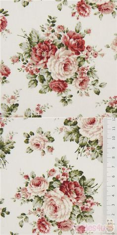 "cream cotton fabric with roses, leaves, Material: 100% cotton, Fabric Type: strong cotton printed shirting fabric, Pattern Repeat: ca. 21cm (8.3"") #Cotton #Flower #Leaf #Plants #Valentine'sDay #JapaneseFabrics"