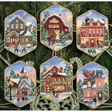NEW   Dimensions D08785 6x Village Christmas Ornament Counted Cross Stitch Kit