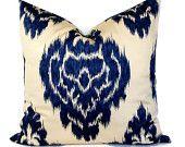Decorative Pillow - Throw Pillow  - 18x18, 20x20 Pillow Cover - Accent Pillow - Duralee - Ikat Kalah Blue - Khaki