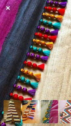 Simple Pattu And Silk Saree Kuchu Design - Indian Fashion Ideas Saree Tassels Designs, Saree Kuchu Designs, Fancy Blouse Designs, Dress Neck Designs, Bridal Blouse Designs, Diy Tassel, Embroidery Fashion, Hand Embroidery Designs, Fabric Jewelry