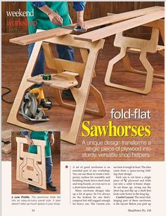 These are about the sweetest sawhorses I've seen in some time! ShopNotes #138 - 4 of them out of one 4x8 sheet of plywood!