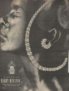 1966 HARRY WINSTON Diamond Jewelry Necklace Earrings Vintage Womens JEWERLY Ad