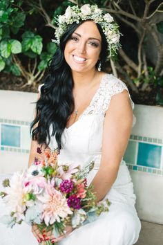 Flower Crown Wedding Hairstyles for Brides and Flower Girls | Photo by: Veronica Varos Photography | TheKnot.com