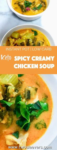 Pressure Cooker Low Carb Spicy Creamy Chicken Soup mixes together pantry ingredients for a last-minute homemade creamy chicken soup that's simply bursting with flavor. Spicy, creamy, low carb, keto, gluten-free, and dairy-free. via @twosleevers