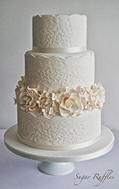 Wedding Ideas: 20 Romantic Ways to Use Lace - wedding cake; Sugar Ruffles