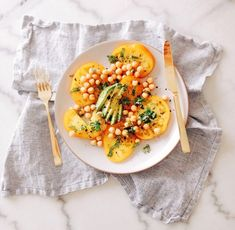yellow tomatoes, chickpeas, basil, avocado, meyer lemon olive oil and black sea salt Clean Recipes, Whole Food Recipes, Healthy Cooking, Healthy Eating, Vegetarian Recipes, Healthy Recipes, Vegan Appetizers, Healthy Food Choices, Summer Salads