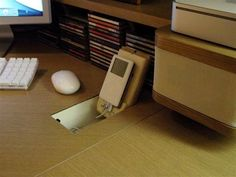 A handy charging station built into the desk!