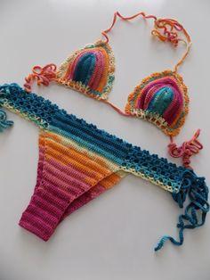 Multicolor Crochet Bikini Women SwimwearBeach by pompomhats Crochet Diy, Crochet Bikini, Style Surfer, Surf Style, Rainbow Swimsuit, Crochet Bathing Suits, Cool Gifts For Women, Crochet Clothes, Hippie Man