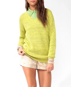 Two-Toned V-Neck Sweater | FOREVER21 - 2025102548