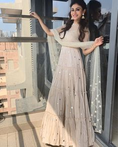 Like It 👍 or Love It ❤ Mouni Roy for a shoot  Styled By 👰 ~  Assisted By ~  Indian Gowns Dresses, Indian Fashion Dresses, Dress Indian Style, Party Wear Indian Dresses, Indian Bridal Outfits, Pakistani Outfits, Stylish Dress Designs, Stylish Dresses, Mouni Roy Dresses