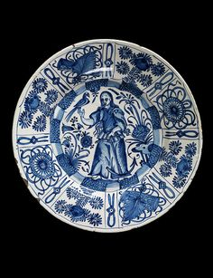Dish  Portugal, 17th century,  Tin-glazed earthenware painted with blue enamel  London, Victoria & Albert Museum