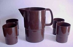 Vintage Sarvis chocolate brown juice pitcher and tumblers made in Finland Finland, 1970s, Juice, Coffee Maker, Plastic, Ceramics, Glasses, Retro, Searching