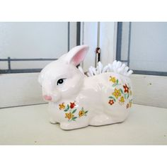 Little Easter Bunny Rabbit Planter Shabby Cottage Chic (€12) ❤ liked on Polyvore featuring home, home decor and holiday decorations