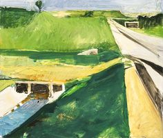 Richard Diebenkorn (United States, Oregon, Portland, 1922 - 1993)  Freeway and Aqueduct, 1957  Painting, Oil on canvas, 23 1/4 x 28 in. (59.06 x 71.12 cm)  Gift of William and Regina Fadiman (M.86.68) © Richard Diebenkorn