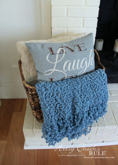 Decorating with Baskets - Functional and Decorative Storage Solution - for extra pillows and blankets! artsychicksrule.com #baskets