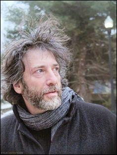 """Neil Gaiman """"I look like I was living out in the frozen wilderness, where I was panning for adjectives or something else that wild writers do. Amanda Palmer, American Gods, Neil Gaiman, Woodland Creatures, I Icon, Beautiful People, Amazing People, Actors & Actresses, How To Become"""