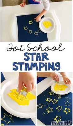 Tot School: Space Star stamping with cookie cutters is a simple fine motor activity that is perfect for a space theme in tot school preschool or the kindergarten classroom. The post Tot School: Space appeared first on School Diy. Daycare Crafts, Toddler Crafts, Preschool Crafts, Planets Preschool, Preschool Ideas, Kids Crafts, Preschool Christmas, Preschool Printables, Toddler Preschool