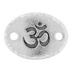 20x15mm Antique Silver Plated Pewter Om Link by TierraCast | Fusion Beads